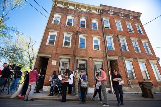 Tenants of a West End apartment building on Wade Street who were facing displacement because of the encroachment of the FC Cincinnati stadium protested in April.