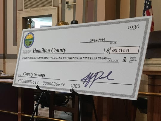 Life-size check for $681,219.91, the  amount of abandoned funds recovered by Hamilton County's clerk of courts and prosecutor from years-old civil cases.