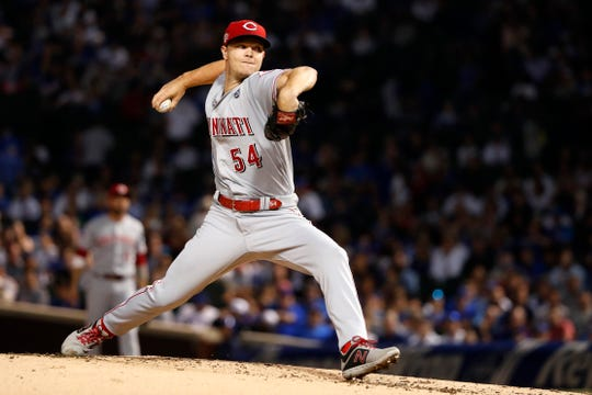 Cincinnati Reds starting pitcher Sonny Gray delivers during the first inning of a baseball game against the Chicago Cubs Tuesday, Sept. 17, 2019, in Chicago.