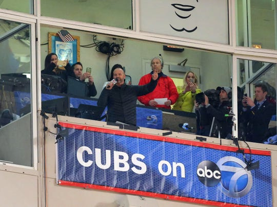 David Ross sings 'Take Me Out to the Ball Game' at Wrigley next to Marty Brennaman ATOBTTR