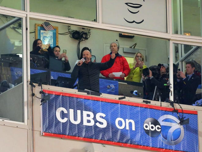 """David Ross also sang """"Take Me Out to the Ball Game"""" at Wrigley in 2017."""