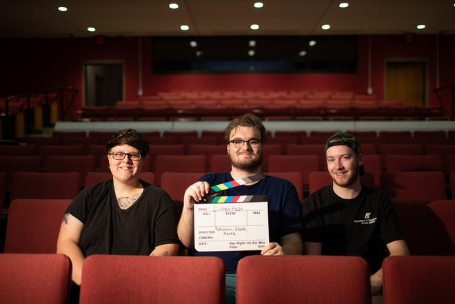 Lizzy Patterson, from the left, Josef Clark and Taylor Moore collaborated on the film during Karen Bullis' documentary production class last year.