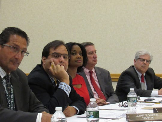 Dr. Felecia Nace and fellow members of the Raritan Valley Community College Boarrd of Trustees at Tuesday's meeting.