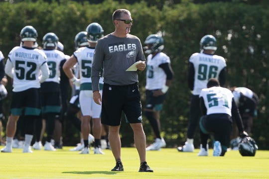 Jim Schwartz during Eagles training camp in Philadelphia, July 26, 2019.