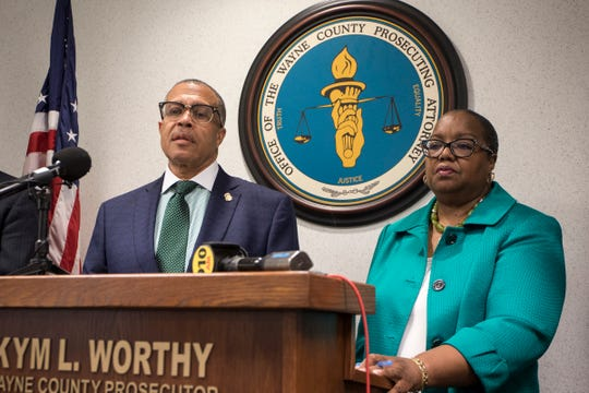 Wayne County Prosecutor Kym L. Worthy holds a press conference to announce murder charges in several cases involving Deangelo Martin at the Frank Murphy Hall of Justice in Detroit, Mich., Wednesday, Sept. 18, 2019.