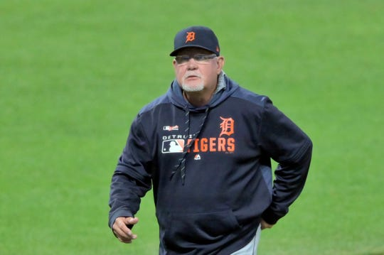 Detroit Tigers manager Ron Gardenhire (15) walks on the field during a pitching change in the fourth inning against the Cleveland Indians at Progressive Field  on Tuesday, Sept. 17, 2019, in Cleveland.