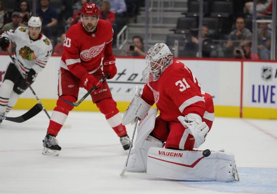 Detroit Red Wings goalie Calvin Pickard in the net during second period action against the Chicago Blackhawks Tuesday September 17, 2019 at Little Caesars Arena in Detroit Michigan.