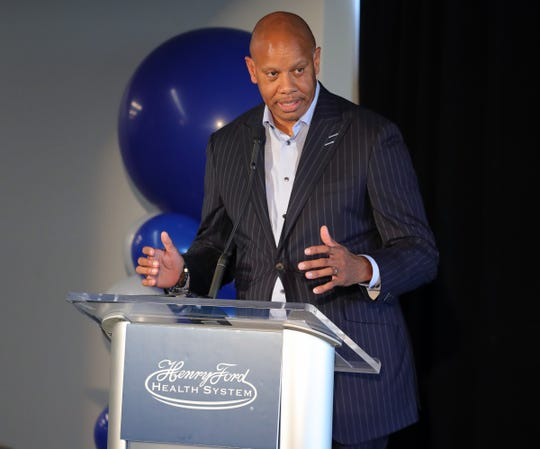 Henry Ford CEO Wright Lassiter III speaking at the new sports medicine center in the Henry Ford Detroit Pistons Performance Center Wednesday September 18, 2019 in Detroit Michigan.