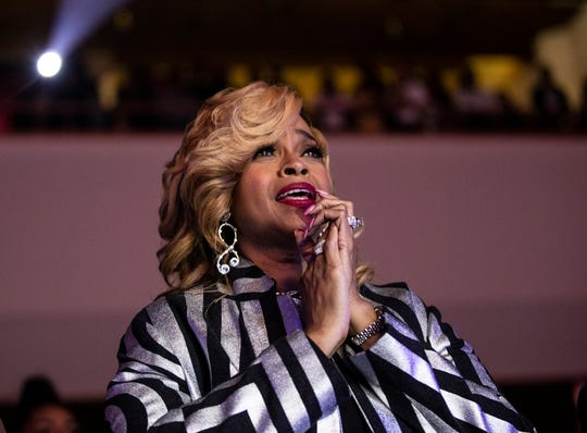 Gospel musician Karen Clark Sheard, mother of Kierra Sheard, watched her daughter perform Friday.