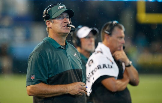 Eagles coach Doug Pederson watches exhibition action against the Jaguars, Aug. 15, 2019 in Jacksonville.