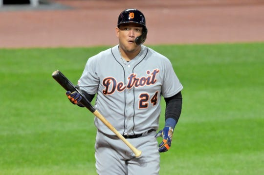 Miguel Cabrera reacts after striking out against the Indians at Progressive Field on Sept. 17, 2019.