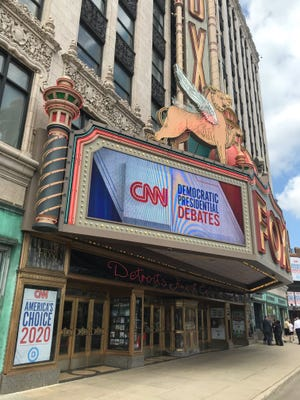 The marquee is set before the first night of the Democratic Presidential debates at the Fox Theatre in Detroit on Tuesday, July 30, 2019.