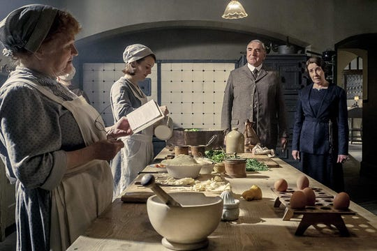 "Lesley Nicol, Sophie McShera, Jim Carter and Phyllis Logan in ""Downton Abbey."""