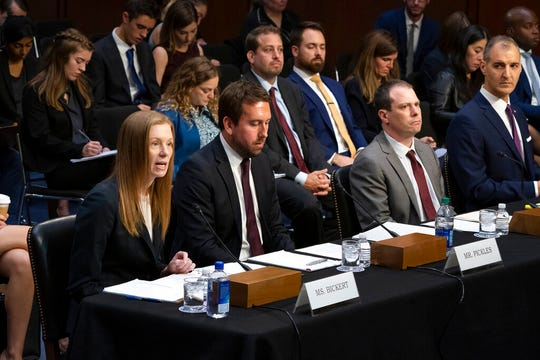 From left Monika Bickert, head of global policy management at Facebook, Nick Pickles, public policy director for Twitter, Derek Slater, global director of information policy at Google, and Anti-Defamation League Senior Vice President of Programs George Selim testify before the Senate Commerce, Science and Transportation Committee on how internet and social media companies are prepared to thwart terrorism and extremism, Wednesday, Sept. 18, 2019.
