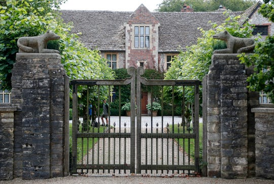 In this Tuesday, Aug. 6, 2019 file photo is the entrance of the Rooksnest estate near Lambourn, England.