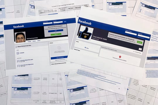 Pages from a confidential whistleblower's report obtained by The Associated Press, along with two printed Facebook pages that were active on Tuesday, Sept. 17, 2019, are photographed in Washington. Facebook likes to say that its automated systems remove the vast majority of prohibited content glorifying the Islamic State group and al-Qaida before it's reported.