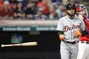 Detroit Tigers' Ronny Rodriguez throws his bat after striking out during the fourth inning Tuesday.