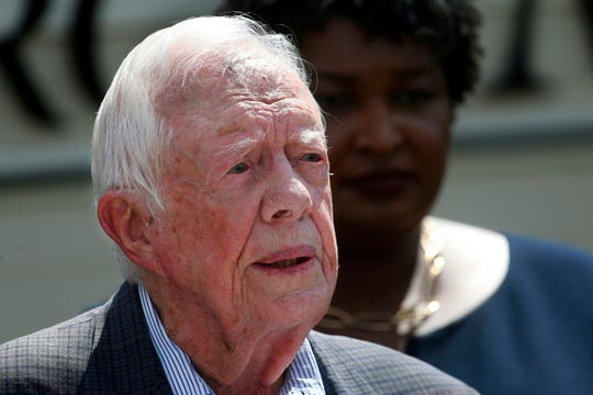 In this Sept. 18, 2018 file photo, former President Jimmy Carter speaks during a news conference, in Plains, Ga.
