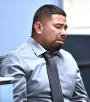 Second witness Armando Hernandez, father of victim Emma Hernandez, cries as he testifies about his daughter's mauling death.