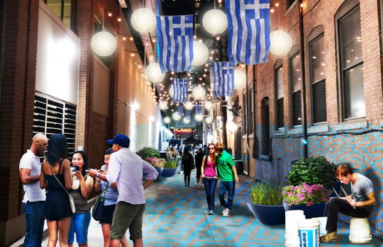 A rendering of some of the proposed changes to the Greektown neighborhood of Detroit.