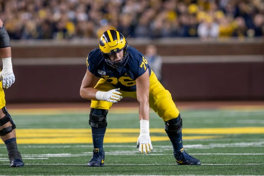 Michigan offensive lineman Ryan Hayes appears to have made a successful transition from tight end.
