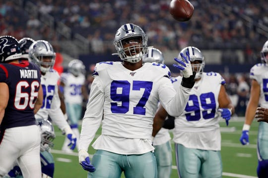 Taco Charlton recorded 46 tackles, including four sacks, in two seasons with the Cowboys.