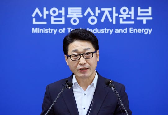 Lee Ho-hyeon, a director general for International Trade Policy at the Trade, Industry and Energy Ministry, speaks at the government complex in Sejong, South Korea, Tuesday, Sept. 17, 2019.