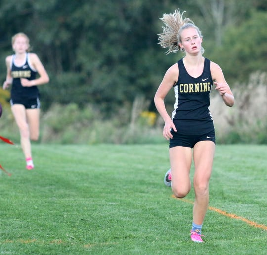 Faithe Ketchum of Corning runs to a win in the girls varsity race at the STAC West divisional cross country meet Sept. 17, 2019 at the Murray Athletic Center in Pine Valley.