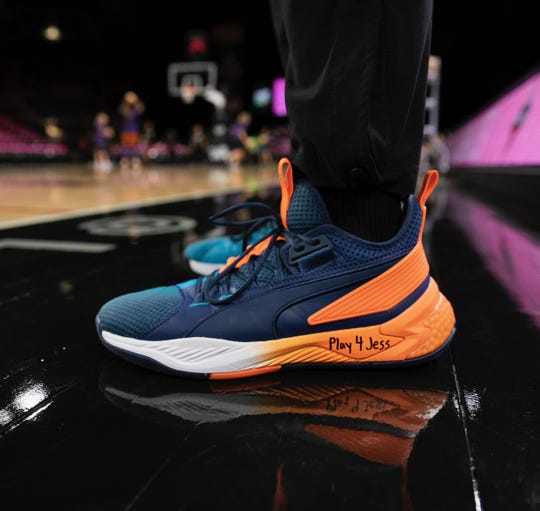 "Las Vegas Aces guard Jackie Young – just voted onto the WNBA's All-Rookie Team – sports shoes with ""Play 4 Jess"" emblazoned on them for the team's Breast Cancer Awareness Night. Jessica Schenk, a native of Princeton, Ind., has longtime ties with the rookie phenom and is currently battling breast cancer."