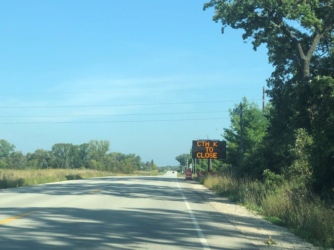A sign informs drivers that Fond du Lac County K will close Monday, Sept. 23 for road resurfacing Wednesday, Sept. 18, 2019.