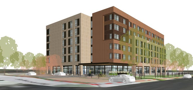 An early rendering of the proposed six-story Marriott hotel at the corner of Prospect Road and College Avenue in Midtown Fort Collins by 4240 Architecture. The hotel is slated to be built on land owned by developer Les Kaplan currently occupied by Chuck E Cheese's.