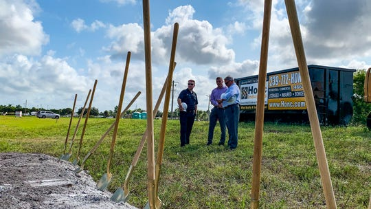 Construction crew from CORE hang out in the field after the ground breaking. New Fairfield Inn by Marriott is ready to break ground behind the Outback Steakhouse off Pine Island Road/Del Prado. Old Pondella Road gives access to construction site. Also, the new Nissan dealership on Pine Island Road, across the street from the Chrysler dealership, is making progress.