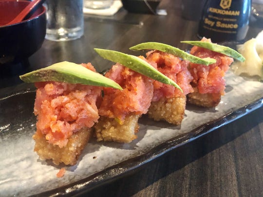 "One of the best dishes at Maks is its ""crispy rice"" sushi ($10). The classic spicy tuna version includes chopped tuna and avocado atop gobs of sushi rice that have been flash-fried till golden and crunchy."