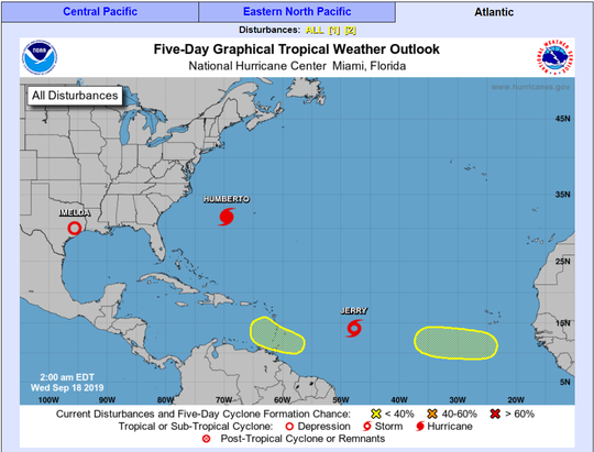 The National Hurricane Center is tracking five tropical disturbances on Wednesday, Sept. 18, 2019.
