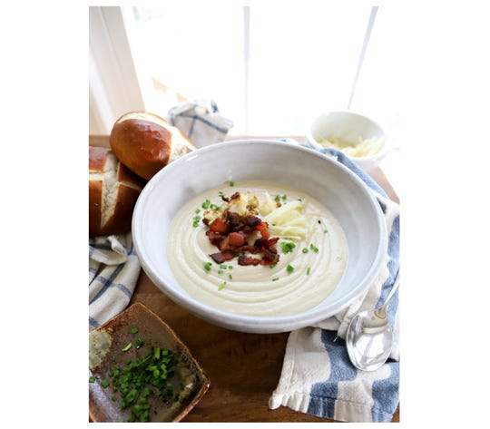 Roasted Cauliflower Soup with Gruyere and Bacon