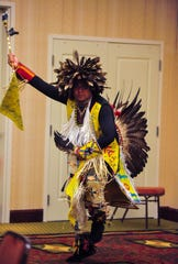 AJ White Cloud dances for the Eighth Judicial District Drug Treatment Court graduation ceremony on Tuesday afternoon at the Hilton Garden Inn, September 17, 2019.