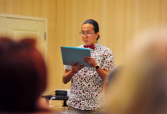 Shay LaVallie delivers a speech during the Eighth Judicial District Drug Treatment Court program graduation ceremony on Tuesday afternoon at the Hilton Garden Inn, September 17, 2019.