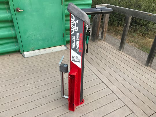 A bike repair station will give bikers the opportunity for repairs and adjustment to their equipment.