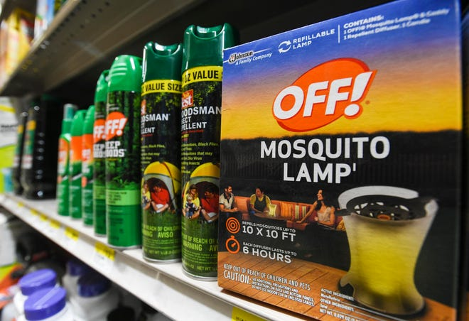 Insect repelling products are found still in stock on the shelves of the Gum Home Center in Dededo, but several other retail outlets in Dededo have also been emptied by shoppers on Sept. 18, 2019.