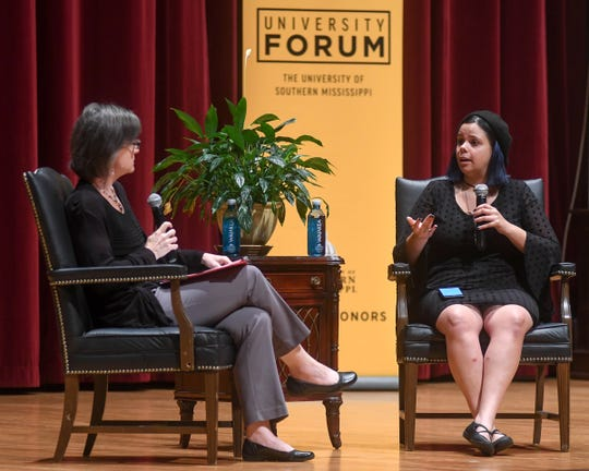 Activist Samantha Fuentes, left, answers questions from University of Southern Mississippi forum moderator Ann Marie Kinnell, co-director of the School of Interdisciplinary Study and Professional Development at USM, at the first University Forum held Tuesday, Sept. 17, 2019, at Bennett Auditorium.