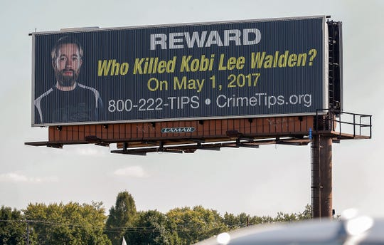 A CrimeStoppers billboard seeking information on the unsolved homicide of Kobi Walden. The billboard can be seen driving south on US 31 near the I-465 ramps on the south side of Indianapolis