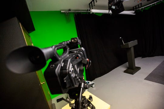 One of eight studio cameras is set in position, Wednesday, Sept. 18, 2019, at the Public Access Television studios in Iowa City, Iowa.