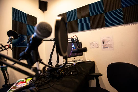 A podcast/audio recording studio is pictured, Wednesday, Sept. 18, 2019, at the Public Access Television studios in Iowa City, Iowa.