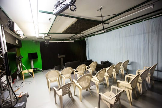 A portion of the studio remains set up following an event, Wednesday, Sept. 18, 2019, at the Public Access Television studios in Iowa City, Iowa.