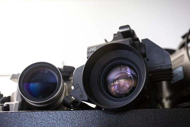 Camera lenses are pictured, Wednesday, Sept. 18, 2019, at the Public Access Television studios in Iowa City, Iowa.