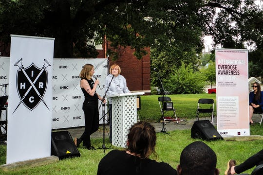 Executive Director Sarah Ziegenhorn speaks along side Tari Beeler, Saturday, Aug. 31, 2019, at the Iowa Harm Reduction Coalition in Cedar Rapids, Iowa.