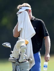 Players on the driving range battled the heat at the Sanderson Farms Championship on Wednesday, September 18, 2019, at the Country Club of Jackson in Jackson, Miss.