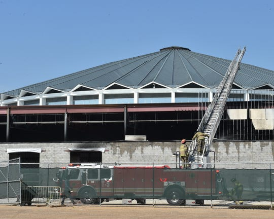 A fire broke out at the construction site of the new Trade Mart building on the Mississippi State Fairground in Jackson Wednesday, Sept. 18, 2019.