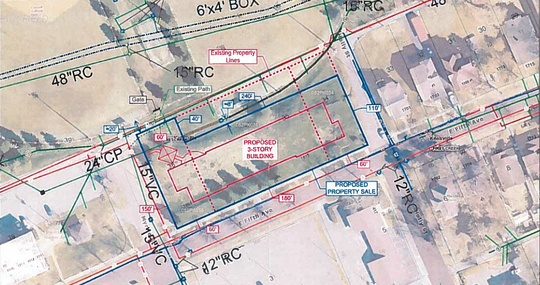 A site map shows the location of Volunteer Ministry Center's proposed permanent supportive housing for the previously homeless, next to Caswell Park. The city-owned land is up for rezoning at the Oct. 10, 2019, planning commission meeting.