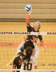 Brighton's Ashley Brown spikes the volleyball against Hartland on Tuesday, Sept. 17, 2019.
